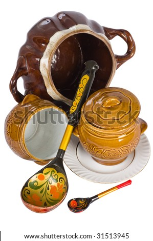 Wooden spoons and ceramic ware.
