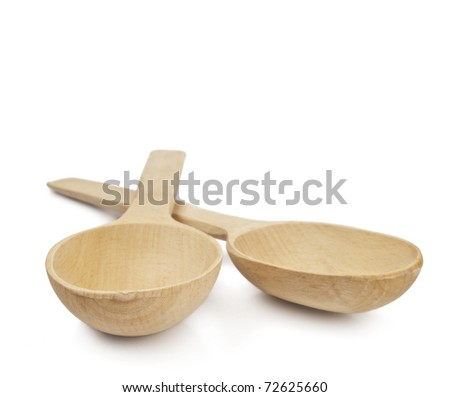 Wooden spoons isolated on a white background - stock photo