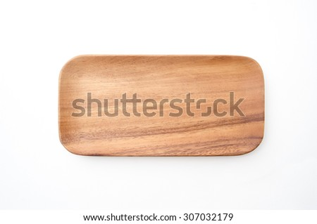 Wooden square plate on white background.