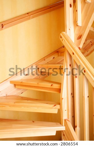 Wooden staircase in a Swedish villa house - stock photo