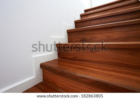 Wooden Staircase In A White Modern House