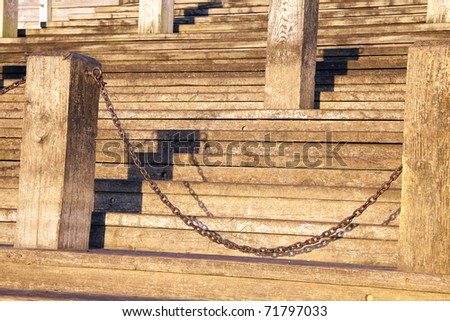 Wooden stairs by Mississippi River in New Orleans
