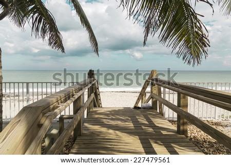 Wooden stairs on deserted beach dunes in Vero Beach, Florida - stock photo