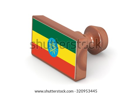 Wooden stamp with Ethiopia flag image with hi-res rendered artwork that could be used for any graphic design. - stock photo