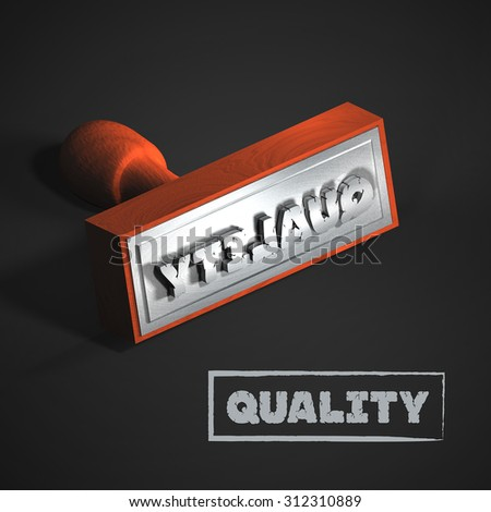 Wooden stamper with the word QUALITY on black background