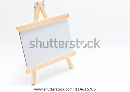 Wooden Stand frame isolated on white background.