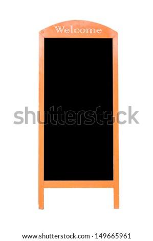 Wooden standing chalkboard. - stock photo