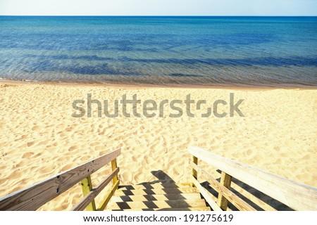 wooden steps beach access - stock photo