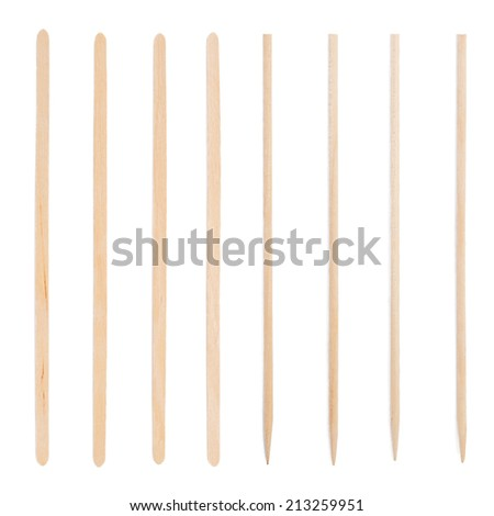 Wooden stick stirrers for coffee, tea and toothpick - stock photo