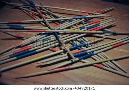 Wooden sticks used in Mikado aka Shanghai game