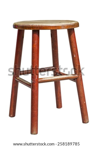 Wooden stool isolated on white - stock photo