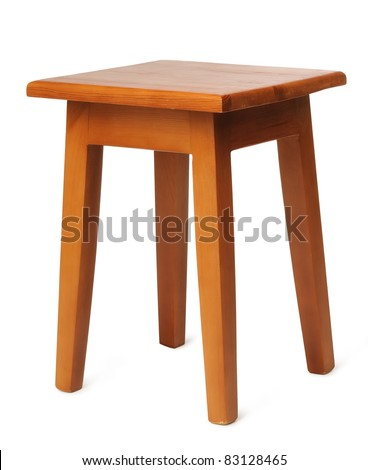 Wooden stool made ??by hand isolated on white background - stock photo