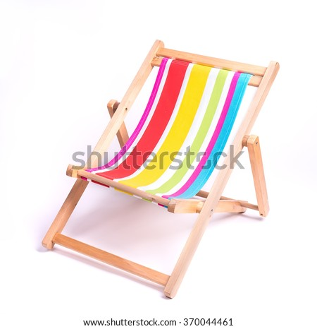 wooden striped deck chair isolated on white background - stock photo