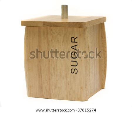 wooden sugar container isolated on white background