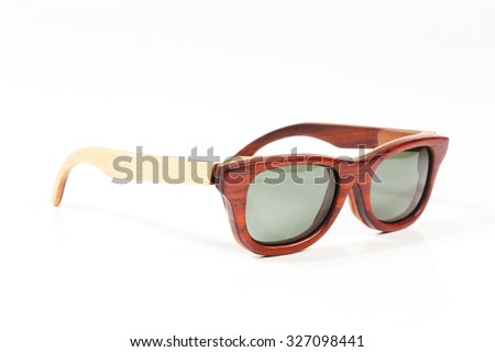 Wooden sunglasses isolated. - stock photo