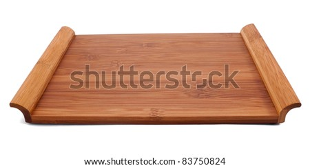 Wooden sushi table isolated on white - stock photo