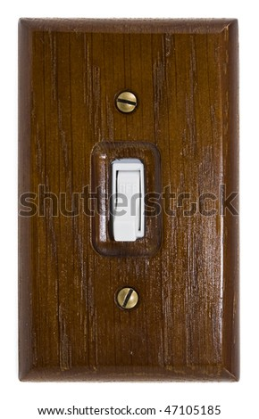 Wooden switch plate with on/off switch - stock photo