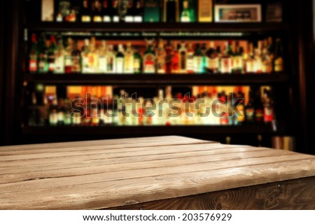 wooden table and bar space  - stock photo