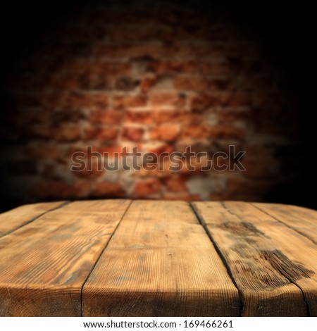 wooden table and wall  - stock photo