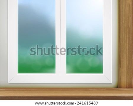 wooden table and window place with blurred forest scene