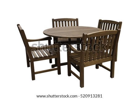 Wooden table and wooden chairs, isolated on white with clipping path