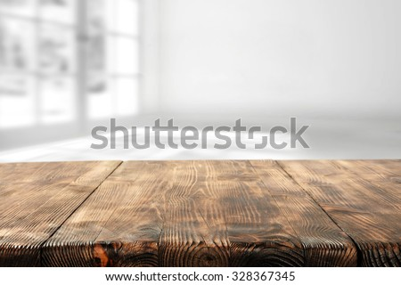 wooden table and wooden space for you  - stock photo