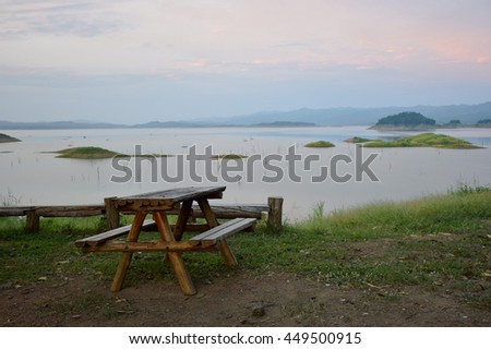 wooden table beside Nan river, National park, Uttaradit, northern of Thailand