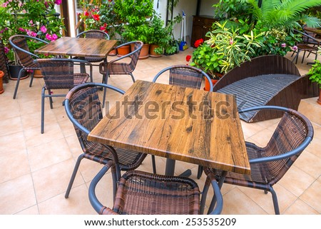 wooden table chairs - stock photo