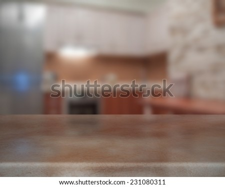 wooden table in the kitchen - stock photo
