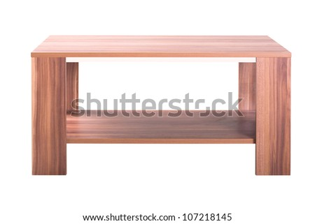 Wooden table isolated on the white background - stock photo