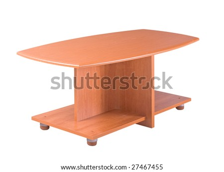 Wooden table isolated on the white background