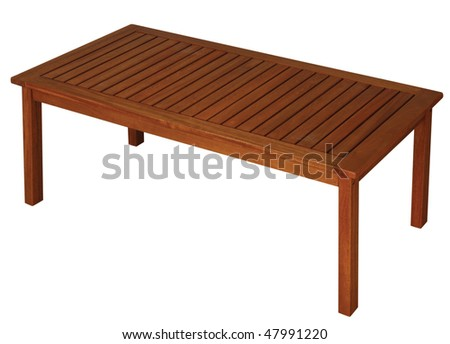 Wooden table isolated on the white background. - stock photo