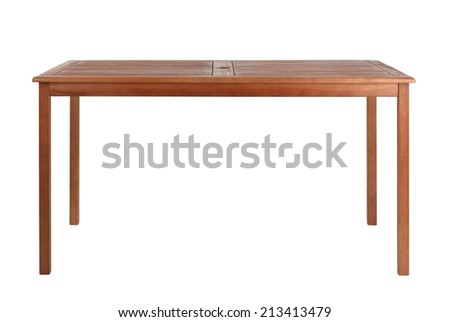 Wooden table isolated on white background - stock photo