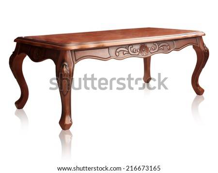 Wooden table isolated on white background, clipping path. - stock photo