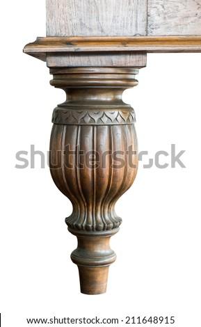 wooden table leg - stock photo