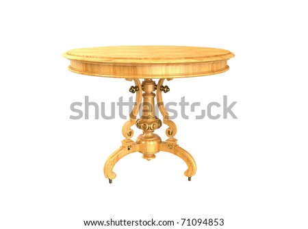 Wooden table on carved legs on a white background - stock photo