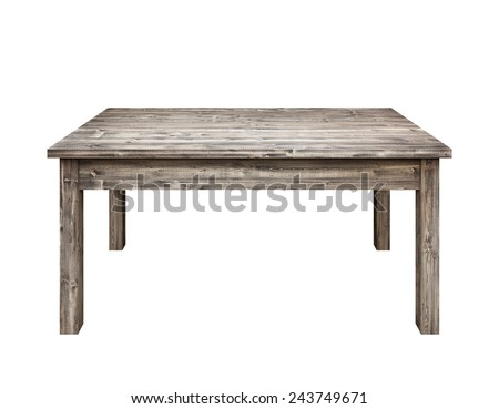Wooden table on white background. - stock photo