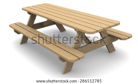 wooden table picnic table on a white surface