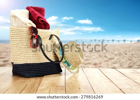 wooden table place and sea and beach  - stock photo