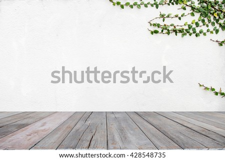 wooden table space and background of nature wall.  For design with copy space for text or image. - stock photo