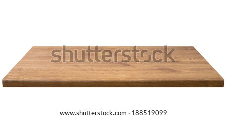 Wooden table top, isolated - stock photo