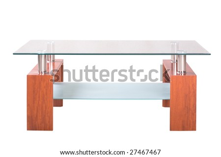Wooden table with glass isolated on the white background - stock photo