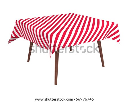 Wooden table with striped cloth, isolated on white, with clipping path - stock photo