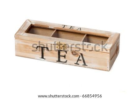 Wooden tea box on a seamless white background - stock photo
