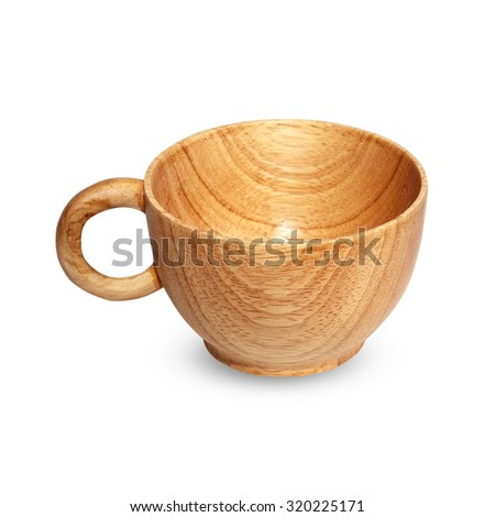 Wooden tea cup isolated on white