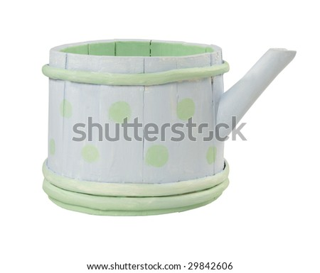 Wooden teapot. Handmade - stock photo