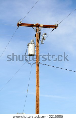 wooden telephone poll - stock photo