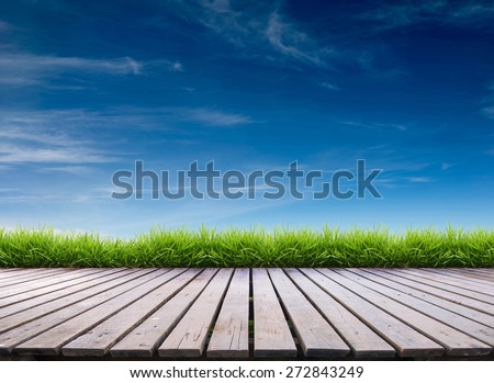 wooden terrace with fresh spring green grass and blue sky - stock photo