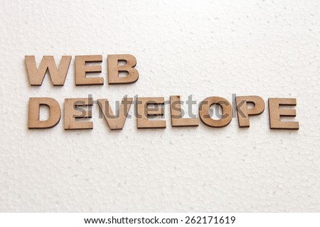 Wooden text on white background that is for technology concept and improvisation of technology