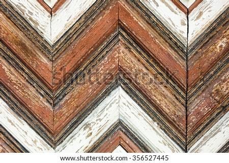 Wooden texture. Decorated door surface of the old traditional Ukrainian house. Close up. - stock photo